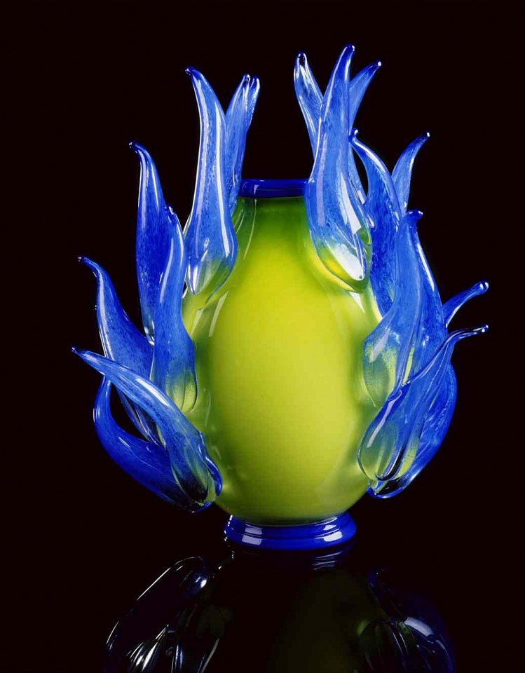 Dale Chihuly, Willow Green Piccolo Venetian with Cobalt Prunts 1997, Glass